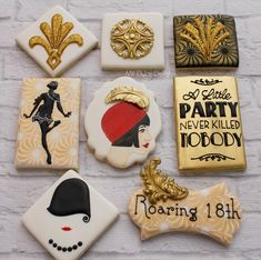 Gatsby Bash Gatsby-themed Cookies via Cookie Connection.  (Inspiration)