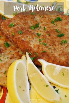 Pork Milanese makes a wonderful family friendly dinner for any night of the week. Terrific with chicken, too. Easy Meat Recipes, Lemon Recipes, Pork Recipes, Vegetarian Recipes, Chicken Recipes, Cooking Recipes, Dinner Recipes, Pork Milanese, Chicken