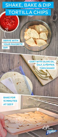 These easy tortilla chips are great for your next basketball or sports-themed party. They're a healthy, homemade alternative to fried snacks. Serve these delicious baked flour tortilla chips with your favorite dip - guacamole, salsa or hummus on game day. Instructions: 1) Cut tortillas into triangles. Add tortillas, olive oil, salt & pepper to a Ziploc® bag and shake to coat. 2) Spread out on a rimmed baking sheet and bake for 15 minutes at 325°F. 3) Serve with your favorite dip.