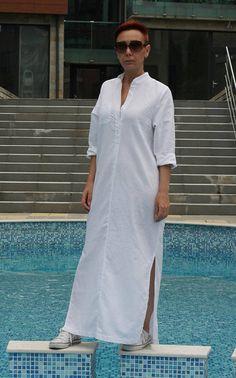 Shirt Dress Linen dress for women Long linen shirt Maxi Linen Shirt Dress, Long Sleeve Shirt Dress, Linen Dresses, Maxi Dresses, Dress Long, Kaftan, All White Party Outfits, Cristian Dior, Chic Outfits