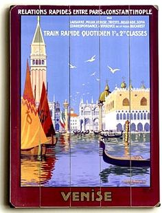 "Venice Italian Gondola Travel Vintage Italian Wall Plaque - 14"" x 20"" Planked Wood Sign - Perfect for most any room, office or restaurant."