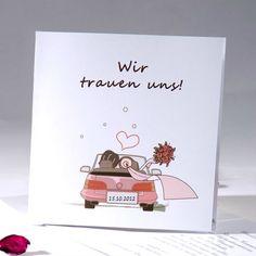 Weg auf Hochzeitsreise <br/> Lustig Weiß mit Pink Auto Einladungskarten Hochzeit