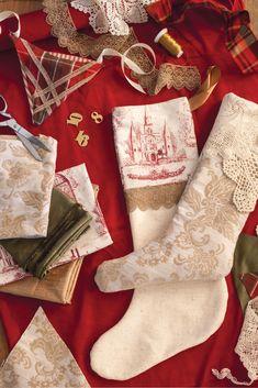 Christmas Tea, Handmade Christmas, Xmas, Victoria Magazine, Stocking Tree, Victorian Decor, Linens And Lace, Christmas Projects, Christmas Stockings