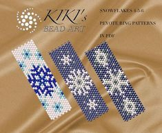 Pattern, peyote ring patterns Snowflakes - peyote ring pattern set of 3, pattern in PDF - instant download