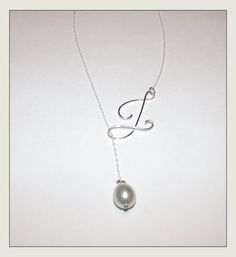 Cyber Monday Sale Pearl Drop Initial Necklace. DIY with birthstone in place of pearl...i want one!