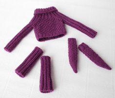 Suéter de Blythe Blythe calcetines polainas blythe Blythe traje lila blythe suéter lana blythe ropa muñeca tela del knit del knit del ropa de la muñeca lila