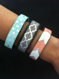 Elastic Band for Fitbit Flex, Fitbit Charge, ChargeHR, Set/3: Aq/Silv Dots (PD09), Grey/Silv Quatrefoil (QF06), Coral/Silv Bold Chev (BC11) by BananaWindDesign on Etsy