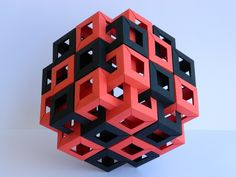 Designer & folder: Michal Pikula Paper: copy paper (Quill) Unit: rectangle rectangle 216 units Folded in March 2014 Folded just for fun - I simply expanded pattern from Six Interlocking Square Prisms. Origami Cube, Origami And Kirigami, Origami Paper Art, Origami Fish, Origami Folding, Paper Crafts, Oragami, Origami Design, Origami Dragon