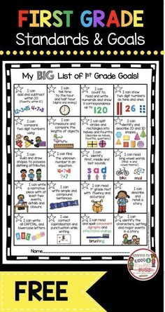 , FREE first grade goal chart - I Can Statements - common core aligned - printable. , FREE first grade goal chart - I Can Statements - common core aligned - printable leader chart - SMART goals freebie printable First Grade Curriculum, First Grade Activities, Teaching First Grade, First Grade Teachers, First Grade Classroom, 1st Grade Math, Second Grade, First Grade Freebies, First Day First Grade