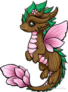 "Dragon Elemental' Sticker by Rebecca Golins -'Flower Dragon Elemental' Sticker by Rebecca Golins - ""Four Elements - Dragons"" Sticker by bgolins Cute Kawaii Drawings, Cute Animal Drawings, Cool Drawings, Cute Dragon Drawing, Dragon Sketch, Dragon Drawings, Cute Dragon Tattoo, Arte Do Kawaii, Dragon Artwork"