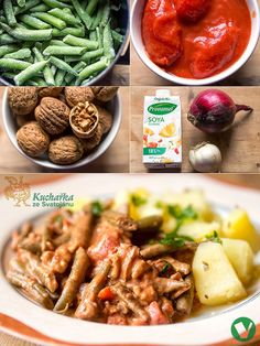 Kuchařka ze Svatojánu: FAZOLKY S RAJČATY A OŘECHY Vegan Vegetarian, Keto, Chicken, Cooking, Food, Kitchens, Cuisine, Kitchen, Meal