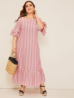 Casual Bell Sleeve Ruffle Trim Striped Maxi Plus Size Dress Half Sleeve Dresses, Plus Size Maxi Dresses, Plus Size Outfits, Casual Dresses, Dresses With Sleeves, Plus Size Womens Clothing, Plus Size Fashion, Clothes For Women, Plus Zise