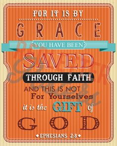 Ephesians 2:8 Bible Verse Retro Vintage Typography Poster 20x30 For it is by grace you have been saved through faith and this is not for...