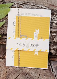 Wedding Invitation Rustic Modern Country // Yellow by DesignsbyXO