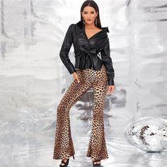 Black Single Breasted Belted Faux Leather Jacket Coat Women