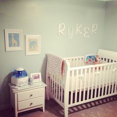 Sweet Baby Boy Nursery. The name on the wall is almost spelled like Ryken but its Ryker <3 :D