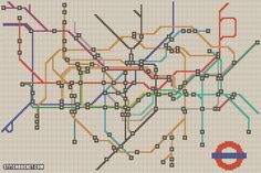 London Underground Cross Stitch Pattern. Made by an American cousin in law after his visit to the UK