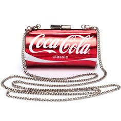 Coke Fiend Coca Cola Mini Clutch ($29) ❤ liked on Polyvore featuring bags, handbags, clutches, purses, accessories, red, red hand bags, mini handbags, mini pochette and mini purse