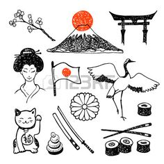 Set of elements of japanese culture hand collecting vector icons drawing and image bank Bullet Journal Japan, Japanese Drawings, Japan Tattoo, Art Japonais, Japanese Flowers, Travel Logo, Flyer, Japan Art, Japanese Culture