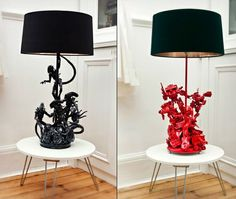 DIY  Make your own Alien Lamps by gluing toys to an old lamp then painting!  Easy Peasy!!!!