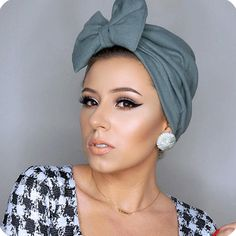 Grey Teal Bow Turban by makeupbyrosexoxo.com $30.00