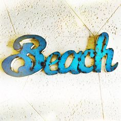 "Mendacious Etsy seller claims this metal sign is a ""vintage item from the 1930s"" but actually it's brand NEW.  Buy it from the maker directly and save $150 (it's the larger of 2 sizes they make):  http://watsonandco.com/default/words/drum-metal-beach-sign-599.html?options=cart"
