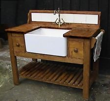 Shaker style belfast sink kitchen unit complete w/top taps ,gold finish waste Bathroom Sink Units, Kitchen Sink Diy, Freestanding Kitchen, Shabby Chic Kitchen, Rustic Kitchen, Kitchen Storage, Laundry Sinks, Sink Taps, Shaker Kitchen