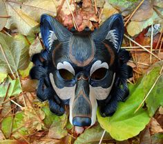 Black Dire Wolf Leather Mask... handmade leather wolf by Merimask