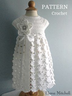 Hand crochet/crocheted dress for your special little girl. This would be perfect for a one of a kind Christening/Baptism dress.This crocheted christening gown pattern is absolutely gorgeous! What an heirloom it would make! Crochet Baby Dress Pattern, Gown Pattern, Crochet Baby Clothes, Knit Crochet, Baby Dress Patterns, Baby Knitting Patterns, Crochet Patterns, Baptism Dress, Christening Gowns