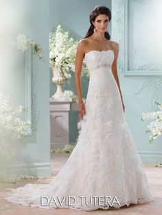 This Strapless Lace Wedding Dress From David Tutera Features Bodice A Hand Beaded Jeweled