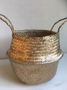 Handwoven Natural Seagrass Belly Basket - Gold