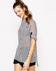 Daisy+Street+Shirt+With+Dipped+Hem+In+Stripe