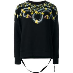 Marcelo Burlon County Of Milan snake printed sweatshirt ($314) ❤ liked on Polyvore featuring tops, hoodies, sweatshirts, black, cotton sweatshirts, patterned tops, patterned sweatshirt, print top and print sweatshirt