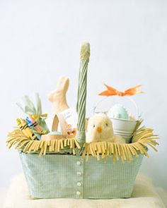 Great Easter basket idea - use fabric cut like this to look like grass.