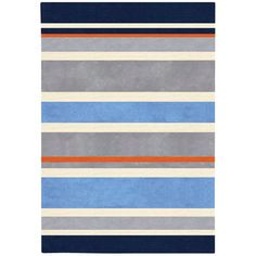 Boys Room - Chic Gray/Blue Striped Hand Tufted Rug