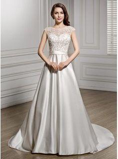A-Linie/Princess-Linie U-Ausschnitt Kapelle-schleppe Satin Spitze Brautkleid mit Perlen verziert Pailletten (002056605) - JJsHouse