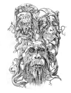 Bad ass version of The Three Wise Monkeys