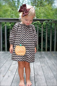 GREAT FOR FALL toddler-girls long sleeve brown chevron dress with orange pumpkin applique