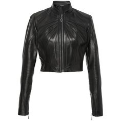 Oday Shakar     Crop Seamed Leather Jacket ($3,990) ❤ liked on Polyvore featuring outerwear, jackets, black, pleated jacket, tailor leather jacket, leather jackets, 100 leather jacket and genuine leather jackets