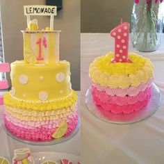 Lemonade theme cake Lemonade party Lemonade birthday Lemonade smash cake Pink and yellow cake Lemonade stand Yellow Birthday Cakes, First Birthday Cakes, 1st Birthday Girls, Sunshine Birthday Parties, First Birthday Parties, First Birthdays, Birthday Bash, Fete Emma, Pink Lemonade Cake