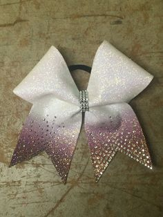 Sublimated ombre glitter rhinestone tails cheer bow by Cheercuties Bling Cheer Bows, Cute Cheer Bows, Cheer Hair Bows, Cheer Pictures, Cheer Pics, Softball Pictures, Cheer Stuff, Fancy Bows, Cheerleading Bows