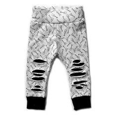 Monochrome Rockstar Print Ripped Leggings