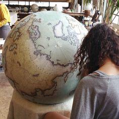 Handcrafted world globe in progress. Bellerby & Co Globemakers, London. www.bellerbyandco.com
