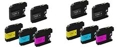 10 replacement Brother MFC-J480DW Inkjet Printer ink toner cartridge for 4x LC-203BK Black, 2 each of LC-203C Cyan/LC-203M Magnta/LC-203Y Yellow AIO all-in-one multifunction machine by Photosharp #replacement #Brother #Inkjet #Printer #toner #cartridge #Black, #each #Cyan/LC #Magnta/LC #Yellow #multifunction #machine #Photosharp