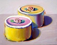 Wayne Thiebaud Cakes and Pies Pop Art Artists, Food Artists, Famous Artists, Wayne Thiebaud Cakes, Wayne Thiebaud Paintings, Art Lessons For Kids, Art Lessons Elementary, Rosebud Cakes, Chocolates