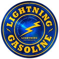 Lightning Gasoline Vintage Metal Sign