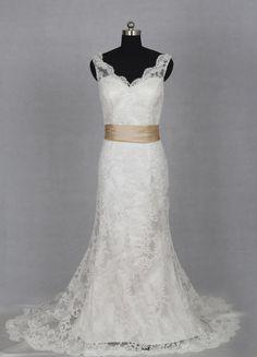 I love the neckline on this one     V-neck and V-back Lace Wedding Dress 2013. $225.00, via Etsy.
