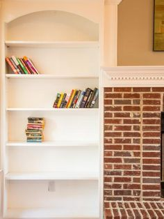 This+painted+bookcase+was+nondescript+and+lacked+the+oomph+it+needed+to+serve+as+the+living+room's+true+focal+point.