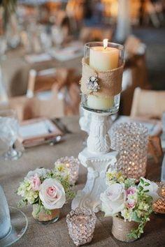 Botes de cristal co flores para centros de mesa
