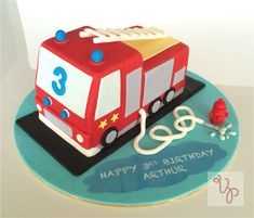 World renown cake artists prefer Satin Ice fondant and gum paste for creating inspiring wedding, birthday and celebration cakes. Firefighter Birthday Cakes, Truck Birthday Cakes, Fireman Birthday, 2nd Birthday, Truck Cakes, Iced Cookies, Cupcake Cookies, Cupcakes, Fire Engine Cake